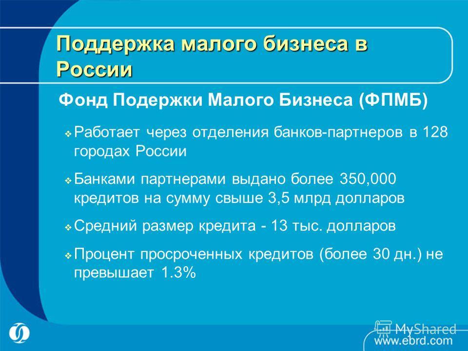 Поддержка малого бизнеса в России Работает через отделения банков-партнеров в 128 городах России Банками партнерами выдано более 350,000 кредитов на сумму свыше 3,5 млрд долларов Средний размер кредита - 13 тыс. долларов Процент просроченных кредитов