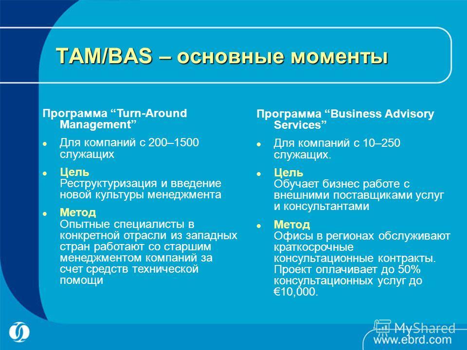 TAM/BAS – основные моменты Программа Turn-Around Management Для компаний с 200–1500 служащих Цель Реструктуризация и введение новой культуры менеджмента Метод Опытные специалисты в конкретной отрасли из западных стран работают со старшим менеджментом
