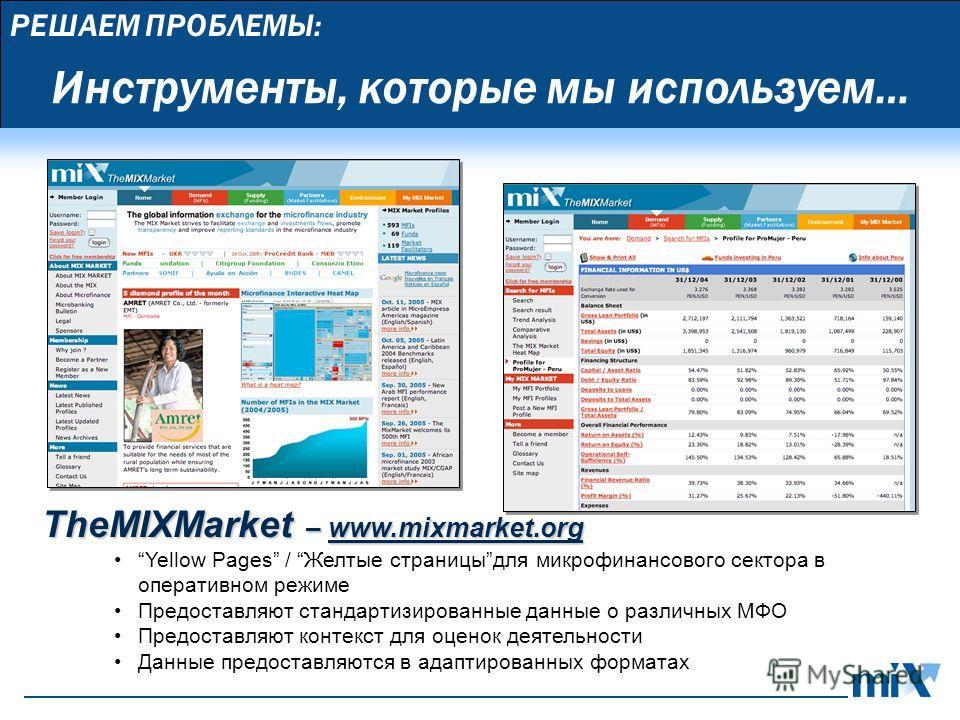 РЕШАЕМ ПРОБЛЕМЫ: TheMIXMarket – www.mixmarket.org Yellow Pages / Желтые страницыдля микрофинансового сектора в оперативном режиме Предоставляют стандартизированные данные о различных МФО Предоставляют контекст для оценок деятельности Данные предостав