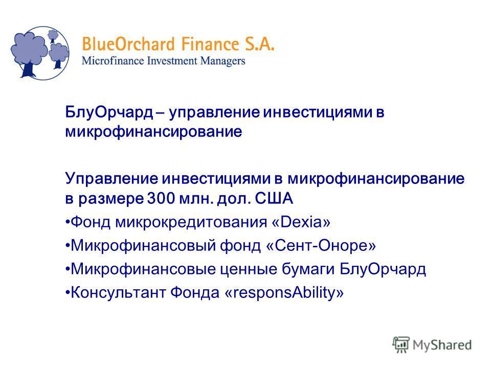 БлуОрчард – управление инвестициями в микрофинансирование Управление инвестициями в микрофинансирование в размере 300 млн. дол. США Фонд микрокредитования «Dexia» Микрофинансовый фонд «Сент-Оноре» Микрофинансовые ценные бумаги БлуОрчард Консультант Ф