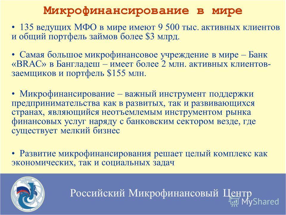Российский Микрофинансовый Центр Микрофинансирование в мире 135 ведущих МФО в мире имеют 9 500 тыс. активных клиентов и общий портфель займов более $3 млрд. Самая большое микрофинансовое учреждение в мире – Банк «BRAC» в Бангладеш – имеет более 2 млн