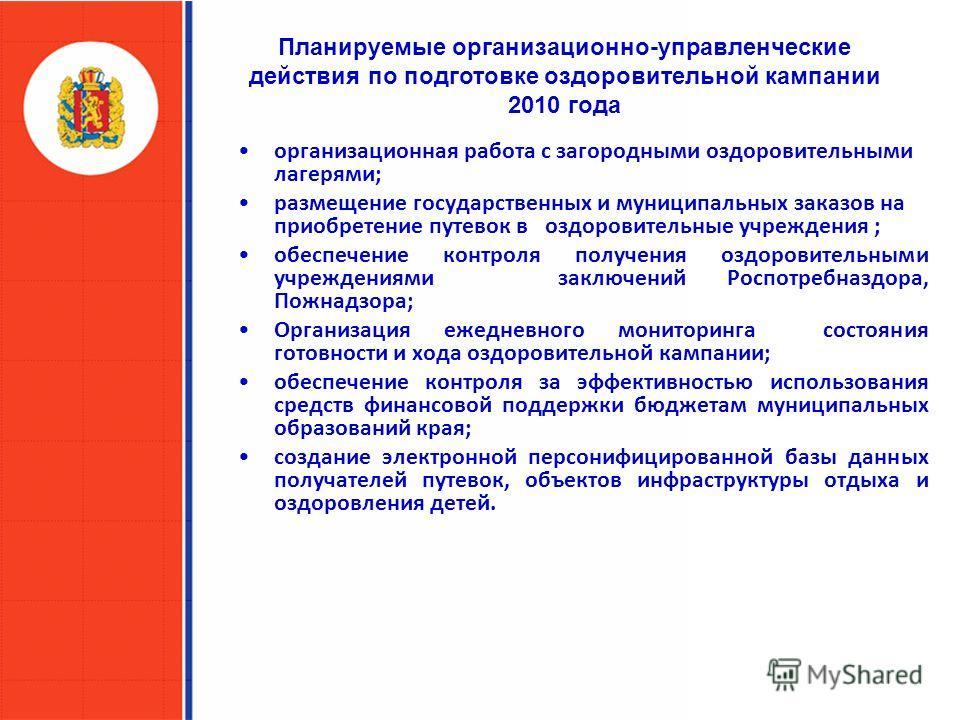 Планируемые организационно-управленческие действия по подготовке оздоровительной кампании 2010 года организационная работа с загородными оздоровительными лагерями; размещение государственных и муниципальных заказов на приобретение путевок в оздоровит