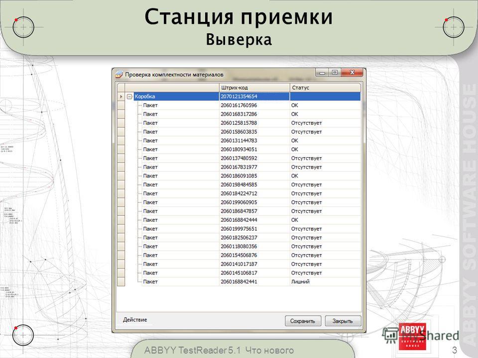 Станция приемки Выверка 3ABBYY TestReader 5.1 Что нового