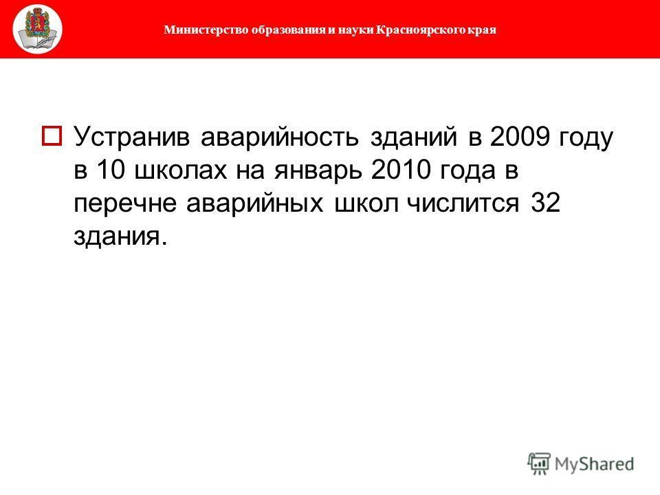 Министерство образования и науки Красноярского края Устранив аварийность зданий в 2009 году в 10 школах на январь 2010 года в перечне аварийных школ числится 32 здания.