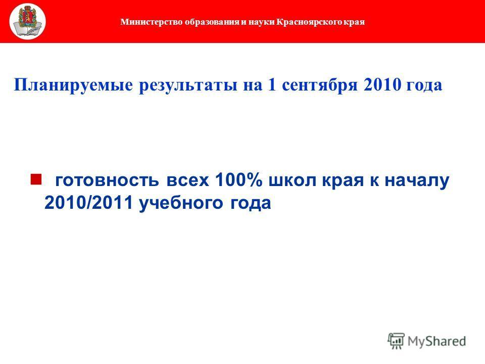 Министерство образования и науки Красноярского края Планируемые результаты на 1 сентября 2010 года готовность всех 100% школ края к началу 2010/2011 учебного года