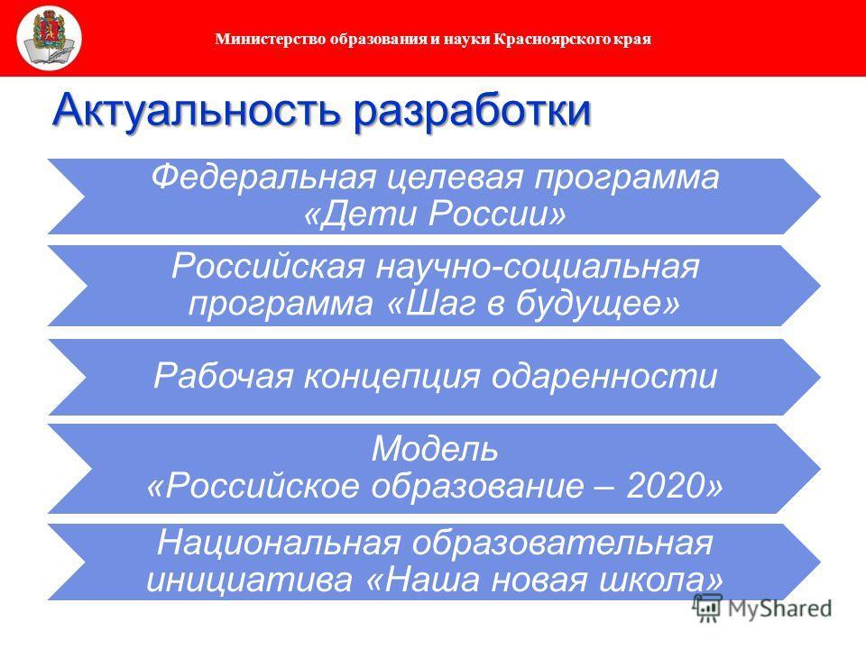 Министерство образования и науки Красноярского края Актуальность разработки