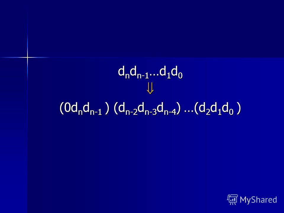 d n d n-1 …d 1 d 0 (0d n d n-1 ) (d n-2 d n-3 d n-4 ) …(d 2 d 1 d 0 )