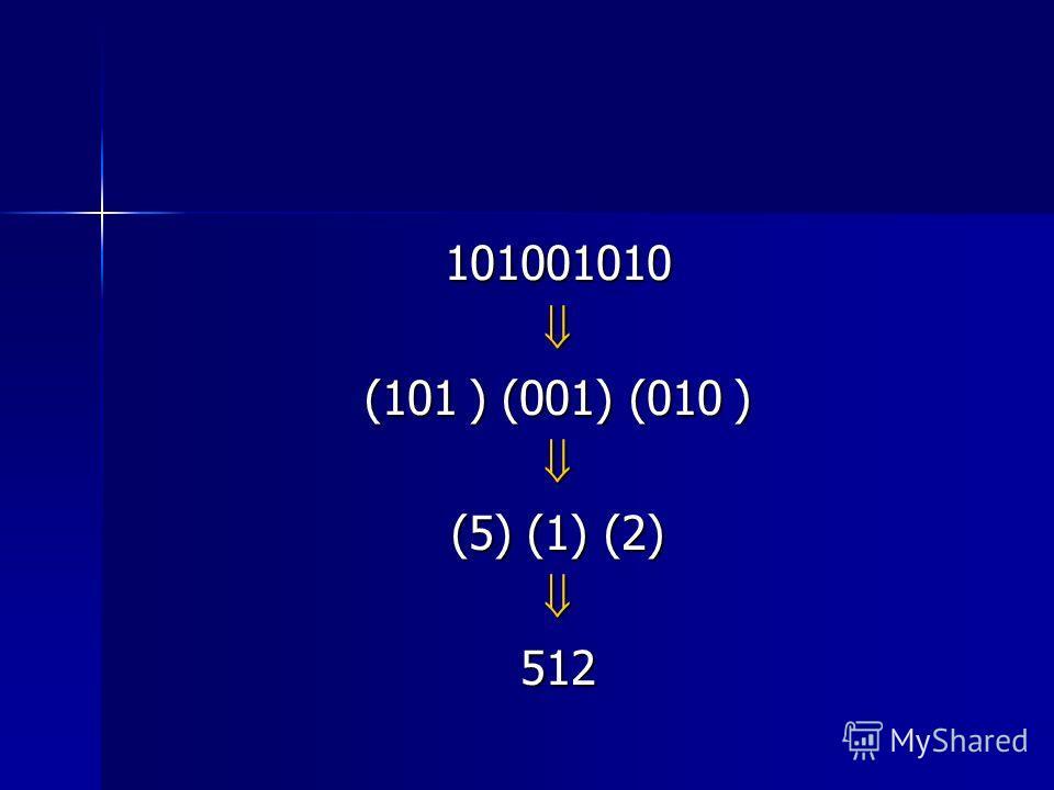 101001010 (101 ) (001) (010 ) (5) (1) (2) 512