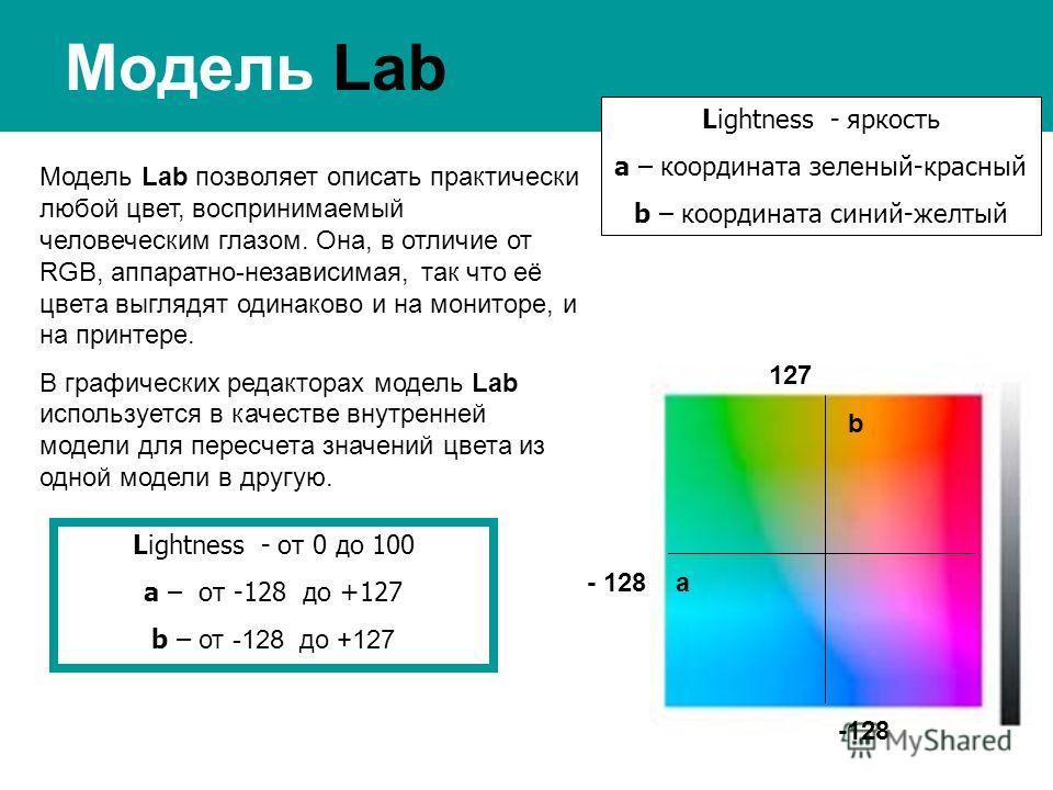 Модель Lab Lightness - яркость a – координата зеленый-красный b – координата синий-желтый Модель Lab позволяет описать практически любой цвет, воспринимаемый человеческим глазом. Она, в отличие от RGB, аппаратно-независимая, так что её цвета выглядят