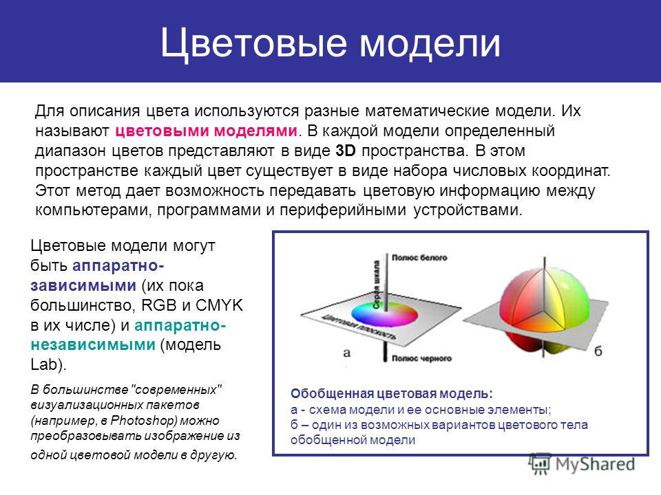 Цветовые модели Для описания цвета используются разные математические модели. Их называют цветовыми моделями. В каждой модели определенный диапазон цветов представляют в виде 3D пространства. В этом пространстве каждый цвет существует в виде набора ч