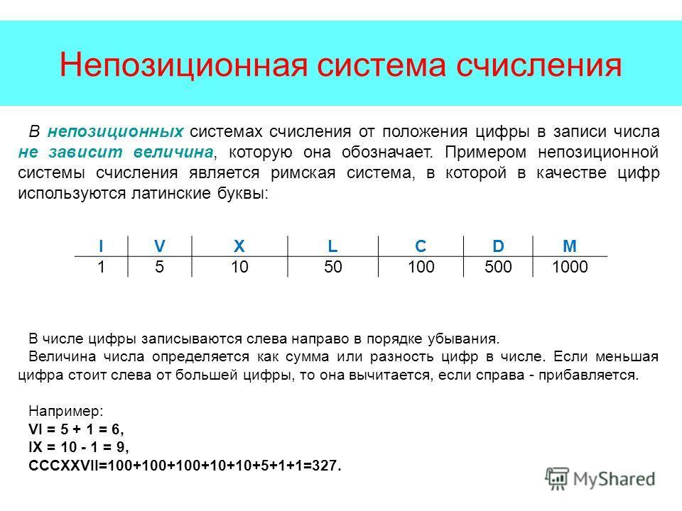 Непозиционная система счисления В непозиционных системах счисления от положения цифры в записи числа не зависит величина, которую она обозначает. Примером непозиционной системы счисления является римская система, в которой в качестве цифр используютс