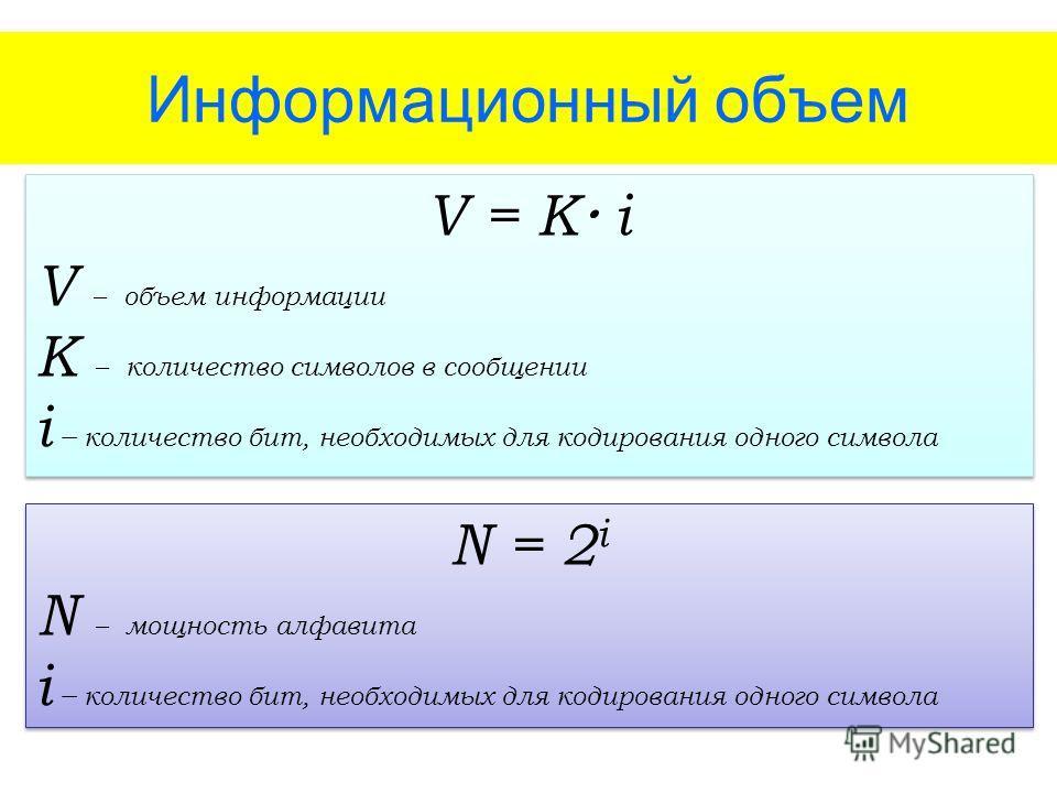 Информационный объем V = K i V – объем информации K – количество символов в сообщении i – количество бит, необходимых для кодирования одного символа V = K i V – объем информации K – количество символов в сообщении i – количество бит, необходимых для