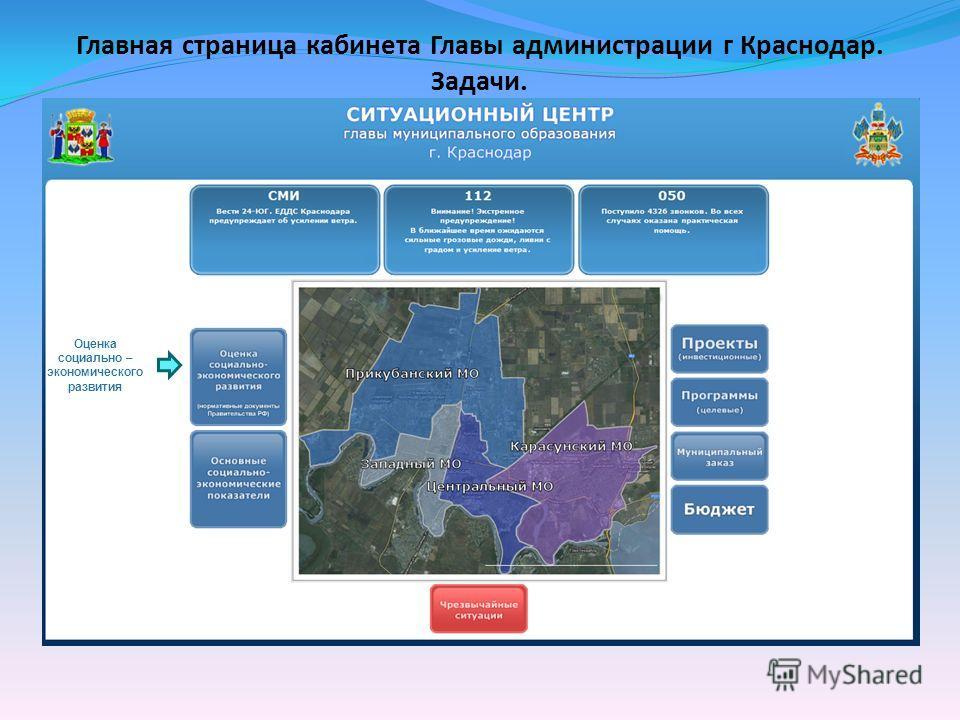 Главная страница кабинета Главы администрации г Краснодар. Задачи. Оценка социально – экономического развития