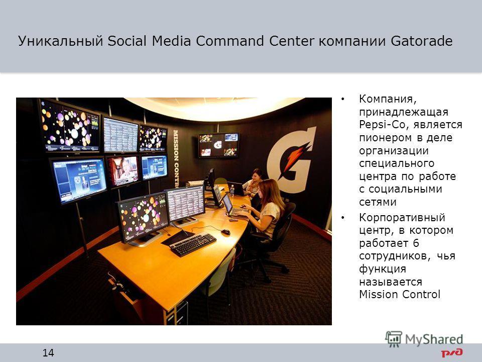Уникальный Social Media Command Center компании Gatorade Компания, принадлежащая Pepsi-Co, является пионером в деле организации специального центра по работе с социальными сетями Корпоративный центр, в котором работает 6 сотрудников, чья функция назы
