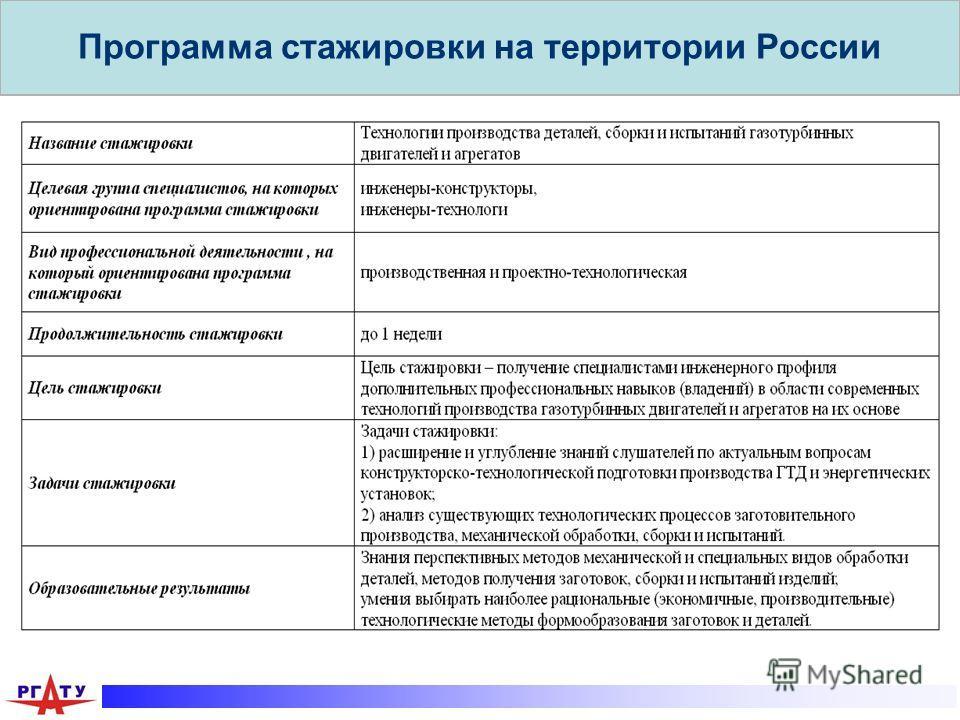 Программа стажировки на территории России