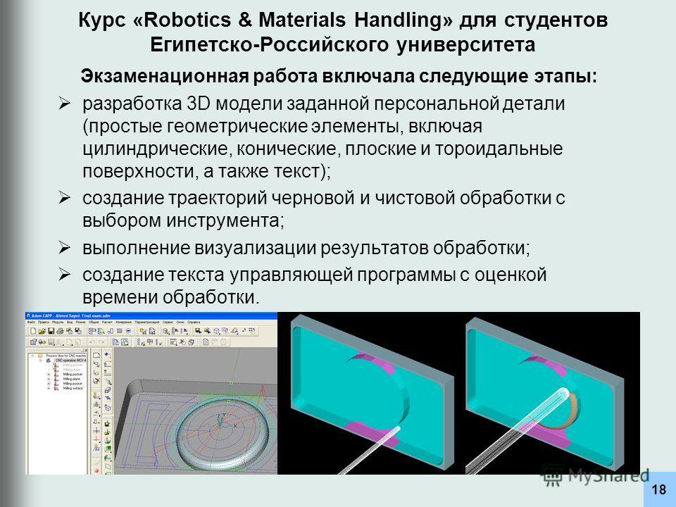Курс «Robotics & Materials Handling» для студентов Египетско-Российского университета разработка 3D модели заданной персональной детали (простые геометрические элементы, включая цилиндрические, конические, плоские и тороидальные поверхности, а также