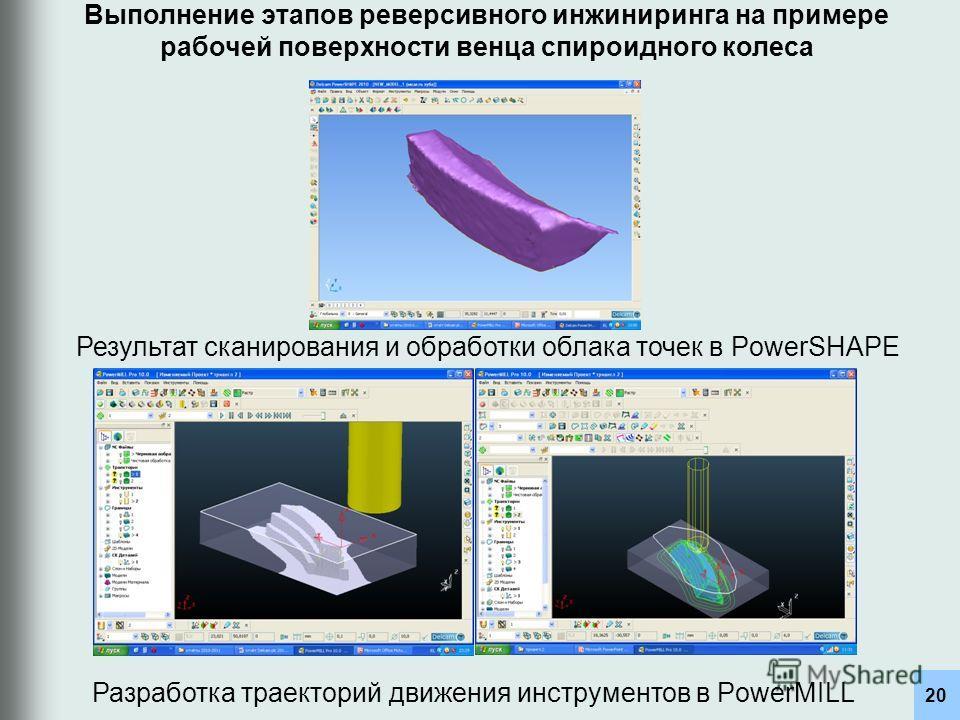 20 Разработка траекторий движения инструментов в PowerMILL Результат сканирования и обработки облака точек в PowerSHAPE