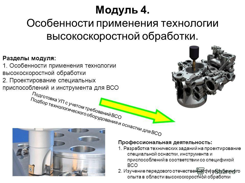 Модуль 4. Особенности применения технологии высокоскоростной обработки. Разделы модуля: 1. Особенности применения технологии высокоскоростной обработки 2. Проектирование специальных приспособлений и инструмента для ВСО Профессиональная деятельность: