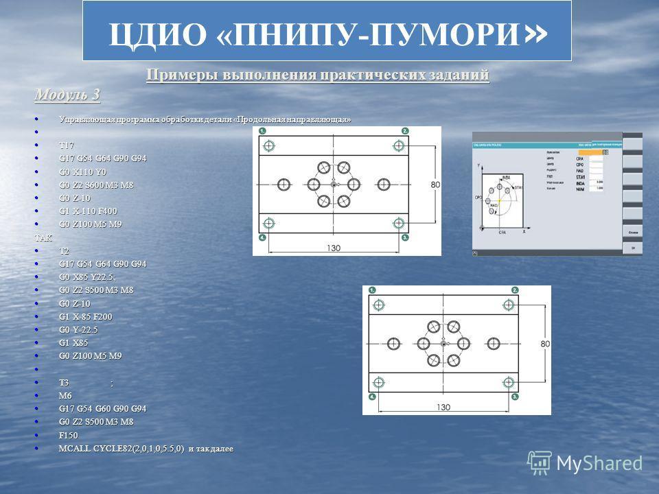 ЦДИО «ПНИПУ-ПУМОРИ » Управляющая программа обработки детали «Продольная направляющая» Управляющая программа обработки детали «Продольная направляющая» T17 T17 G17 G54 G64 G90 G94 G17 G54 G64 G90 G94 G0 X110 Y0 G0 X110 Y0 G0 Z2 S600 M3 M8 G0 Z2 S600 M