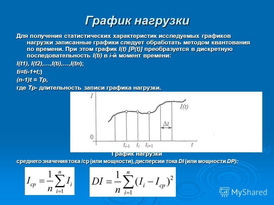 Для получения статистических характеристик исследуемых графиков нагрузки записанные графики следует обработать методом квантования по времени. При этом график I(t) [P(t)] преобразуется в дискретную последовательность I(ti) в i-й момент времени: I(t1)