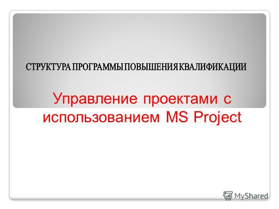 Управление проектами с использованием MS Project