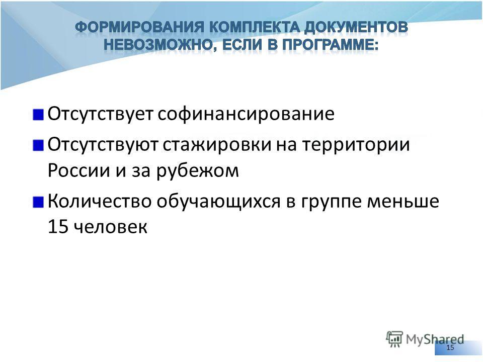Отсутствует софинансирование Отсутствуют стажировки на территории России и за рубежом Количество обучающихся в группе меньше 15 человек 15
