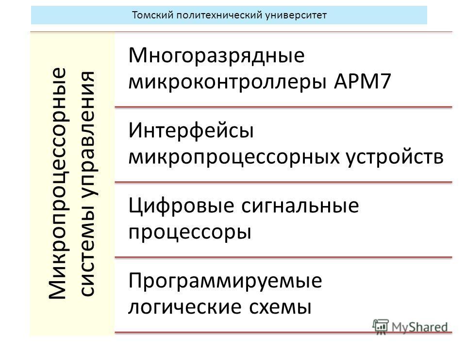 Микропроцессорные системы управления Многоразрядные микроконтроллеры АРМ7 Интерфейсы микропроцессорных устройств Цифровые сигнальные процессоры Программируемые логические схемы Томский политехнический университет