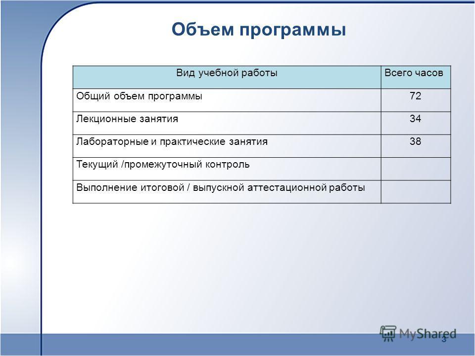 Объем программы 3 Вид учебной работыВсего часов Общий объем программы72 Лекционные занятия34 Лабораторные и практические занятия38 Текущий /промежуточный контроль Выполнение итоговой / выпускной аттестационной работы