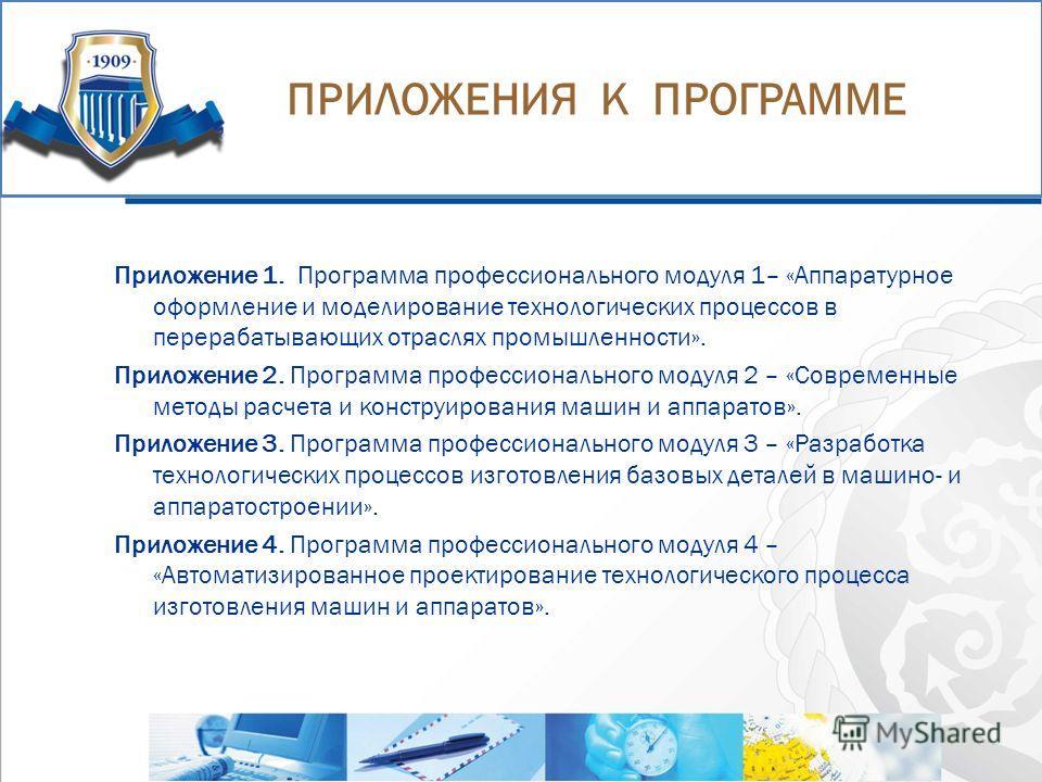ПРИМЕРЫ КРИЗИСНЫХ СИТУАЦИЙ ЗА ПОСЛЕДНЕЕ ВРЕМЯ Приложение 1. Программа профессионального модуля 1– «Аппаратурное оформление и моделирование технологических процессов в перерабатывающих отраслях промышленности». Приложение 2. Программа профессиональног