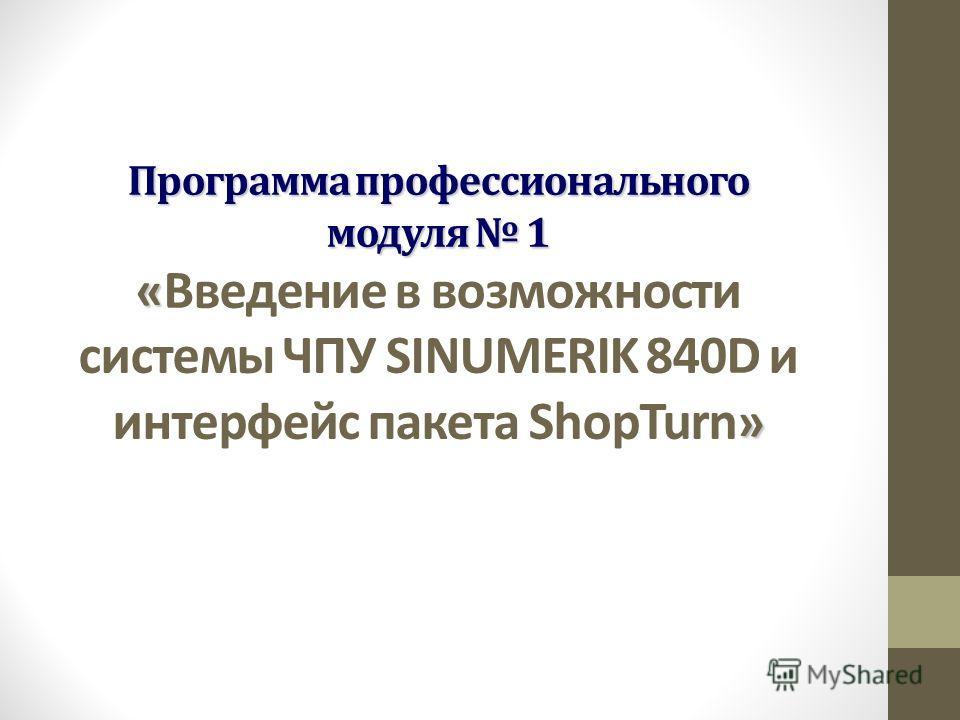 Программа профессионального модуля 1 « » Программа профессионального модуля 1 « Введение в возможности системы ЧПУ SINUMERIK 840D и интерфейс пакета ShopTurn »