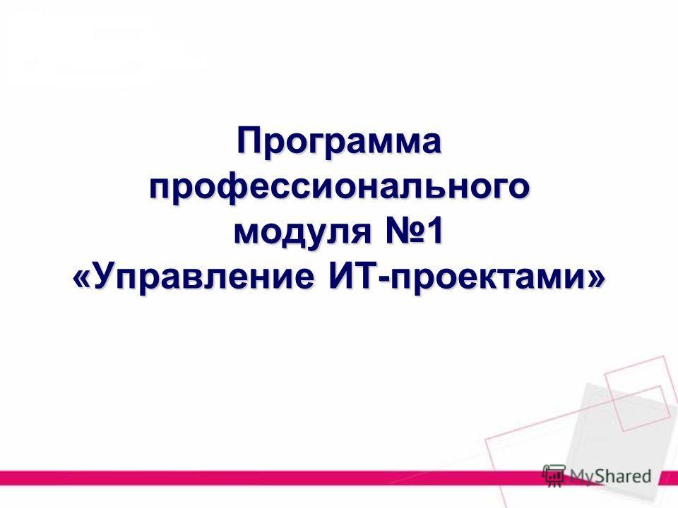 Программа профессионального модуля 1 «Управление ИТ-проектами»