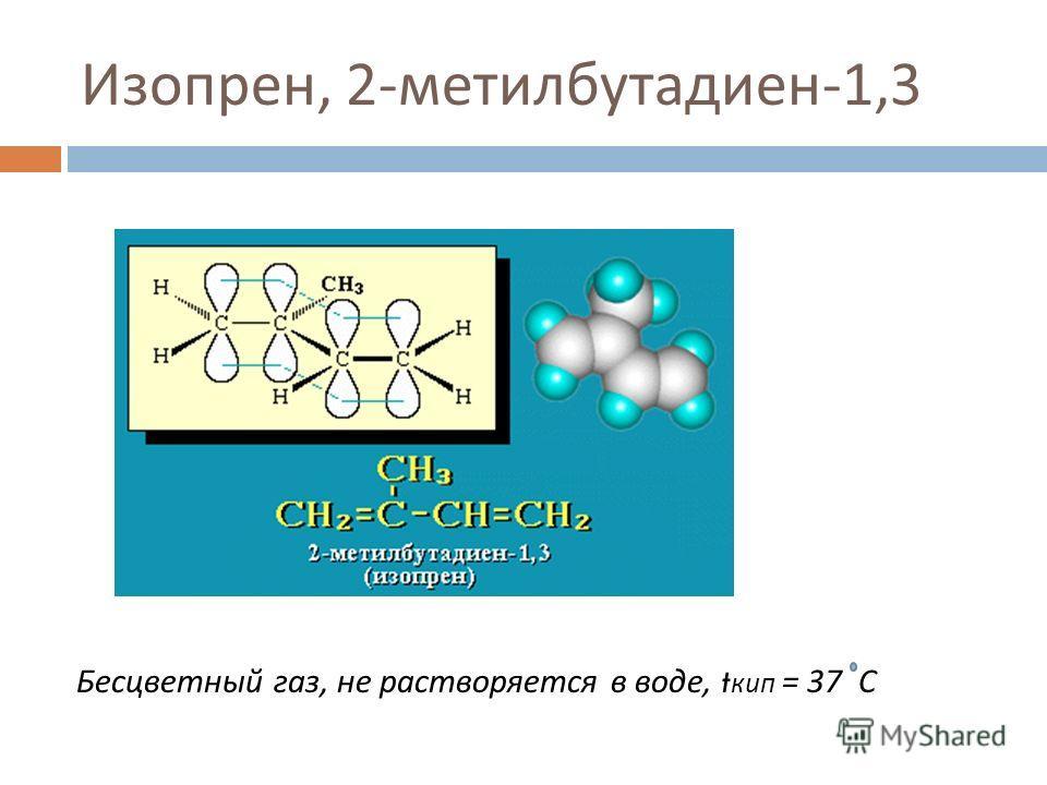Изопрен, 2- метилбутадиен -1,3 Бесцветный газ, не растворяется в воде, t кип = 37 С