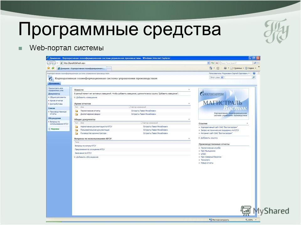 Web-портал системы Программные средства