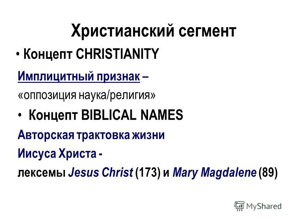 Концепт CHRISTIANITY Имплицитный признак – «оппозиция наука/религия» Концепт BIBLICAL NAMES Авторская трактовка жизни Иисуса Христа - лексемы Jesus Christ (173) и Mary Magdalene (89) Христианский сегмент
