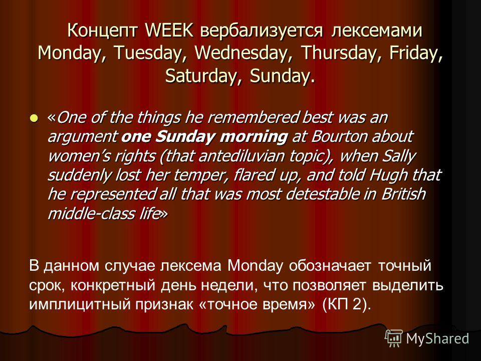 Концепт WEEK вербализуeтся лексемами Monday, Tuesday, Wednesday, Thursday, Friday, Saturday, Sunday. Концепт WEEK вербализуeтся лексемами Monday, Tuesday, Wednesday, Thursday, Friday, Saturday, Sunday. «One of the things he remembered best was an arg