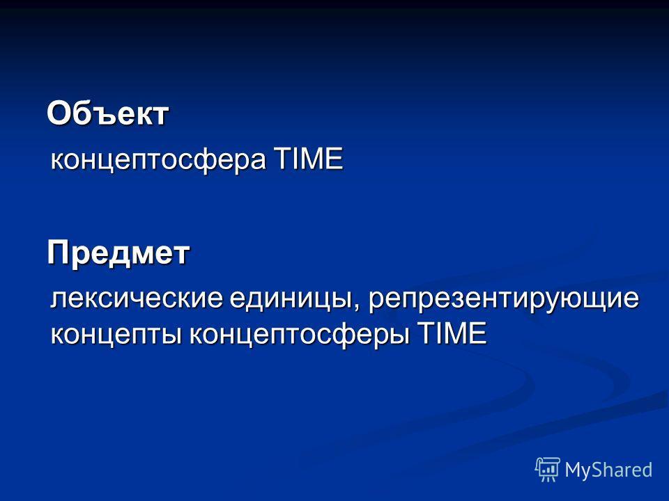 Объект Объект концептосфера TIME Предмет Предмет лексические единицы, репрезентирующие концепты концептосферы TIME