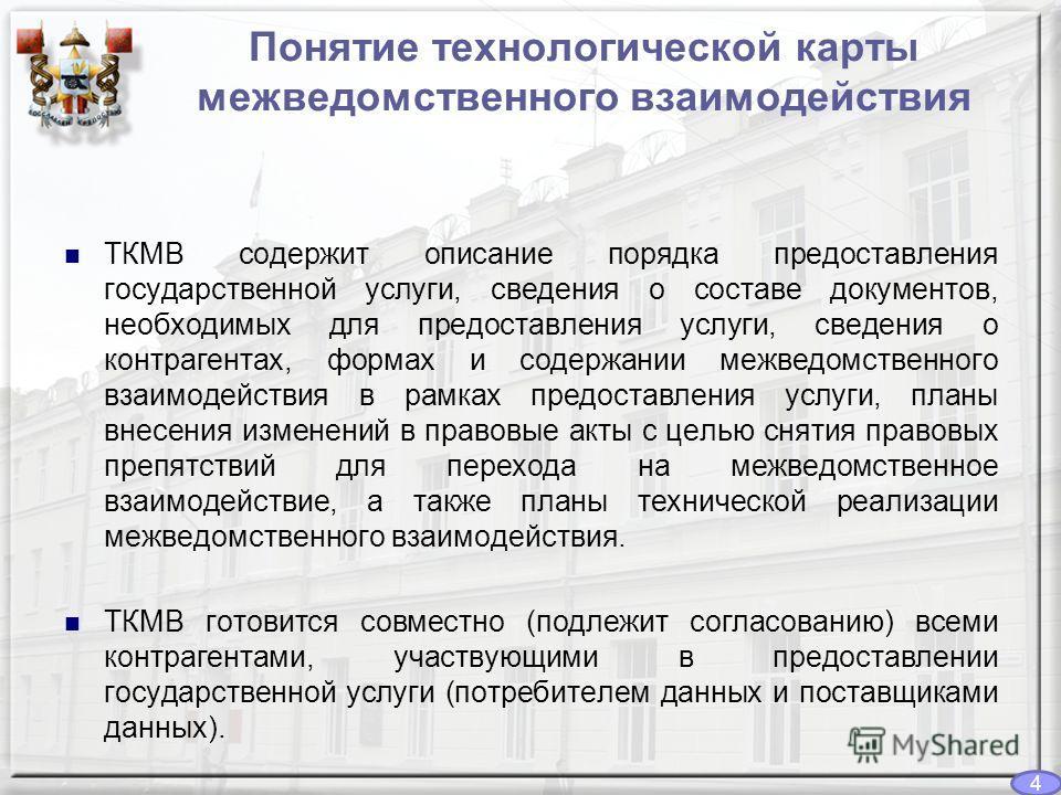 ТКМВ содержит описание порядка предоставления государственной услуги, сведения о составе документов, необходимых для предоставления услуги, сведения о контрагентах, формах и содержании межведомственного взаимодействия в рамках предоставления услуги,