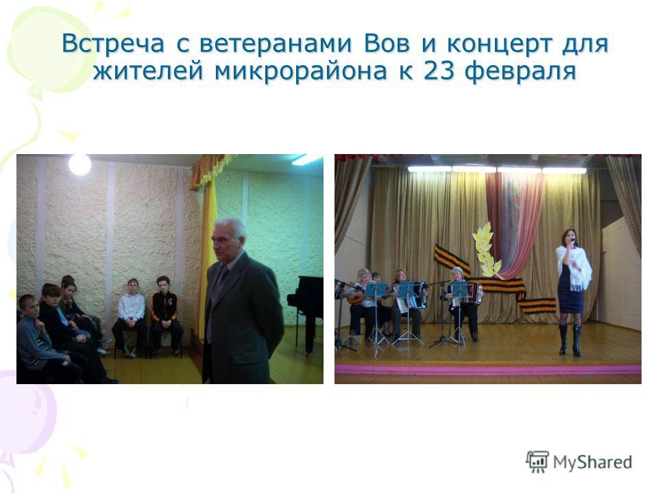 Встреча с ветеранами Вов и концерт для жителей микрорайона к 23 февраля
