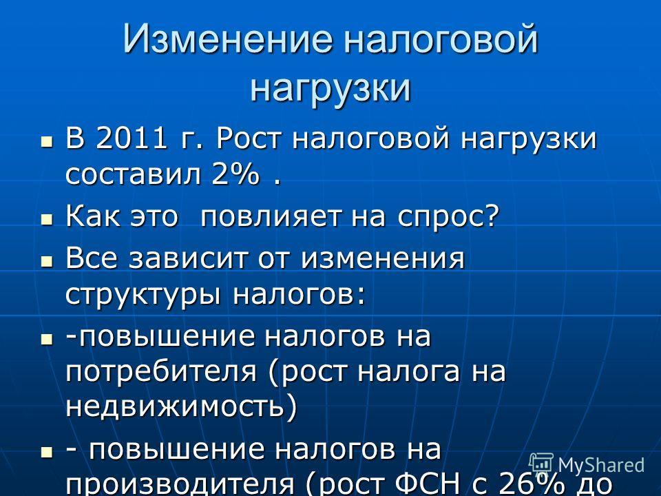 Изменение налоговой нагрузки В 2011 г. Рост налоговой нагрузки составил 2%. В 2011 г. Рост налоговой нагрузки составил 2%. Как это повлияет на спрос? Как это повлияет на спрос? Все зависит от изменения структуры налогов: Все зависит от изменения стру