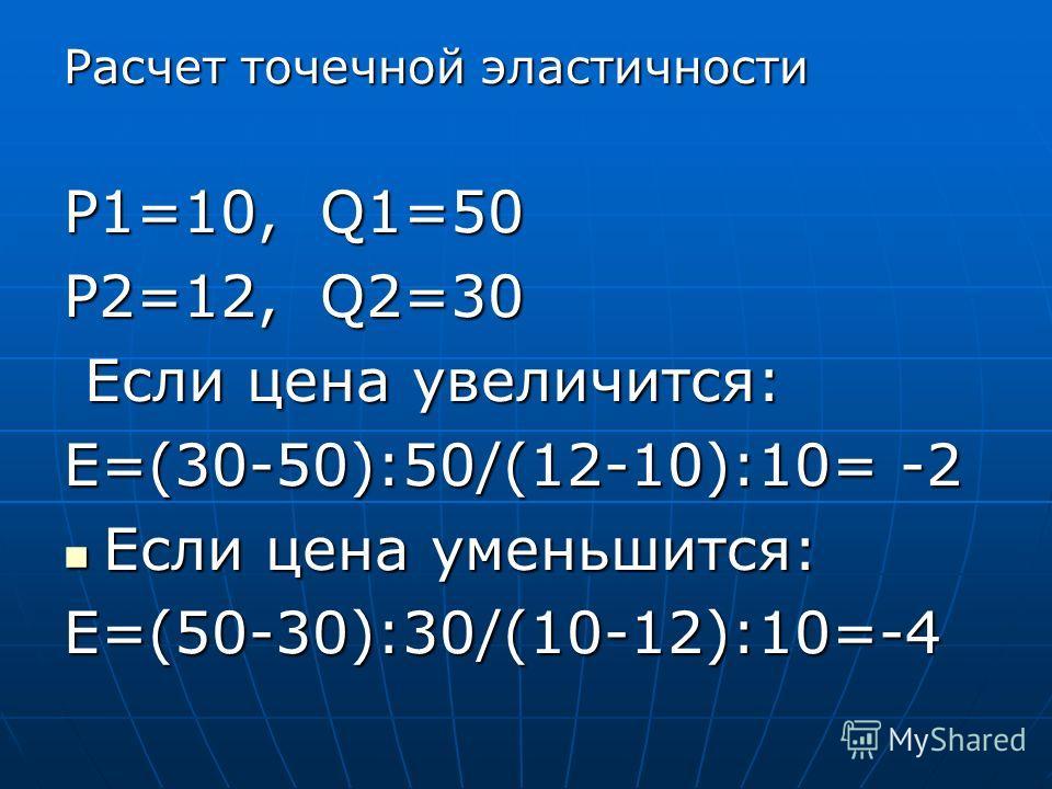 Расчет точечной эластичности P1=10, Q1=50 P2=12, Q2=30 Если цена увеличится: Если цена увеличится: E=(30-50):50/(12-10):10= -2 Если цена уменьшится: Если цена уменьшится: E=(50-30):30/(10-12):10=-4