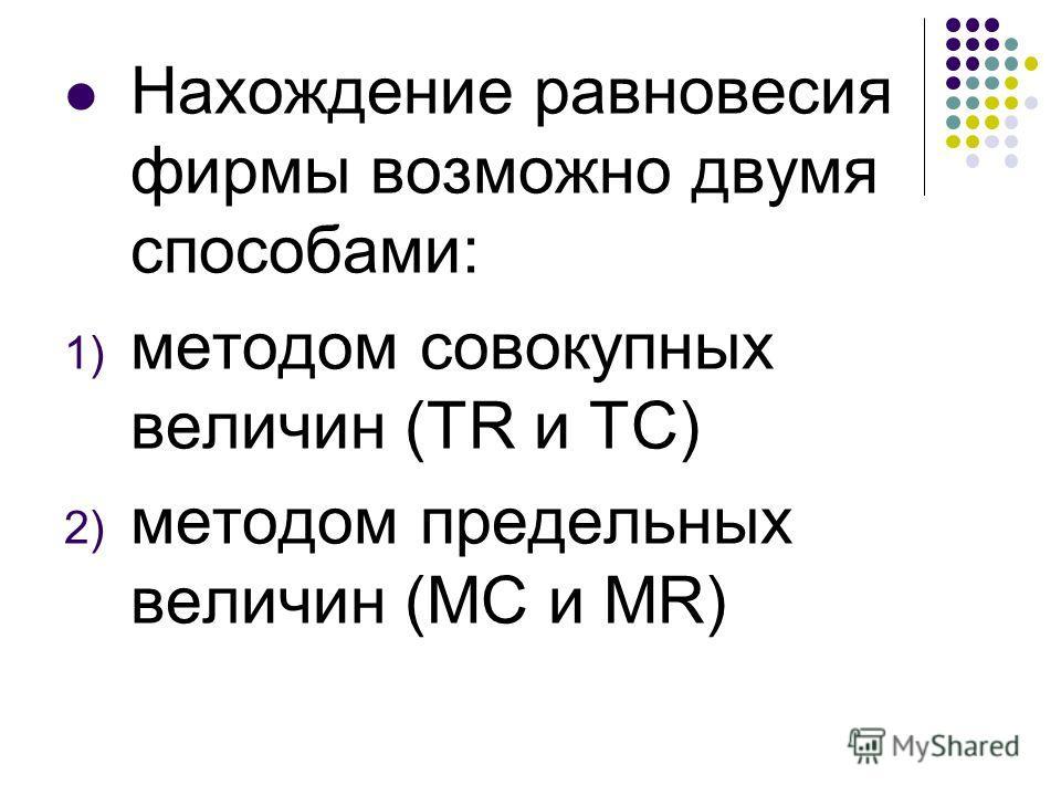 Нахождение равновесия фирмы возможно двумя способами: 1) методом совокупных величин (TR и TC) 2) методом предельных величин (МС и MR)