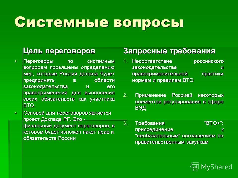 Системные вопросы Переговоры по системным вопросам посвящены определению мер, которые Россия должна будет предпринять в области законодательства и его правоприменения для выполнения своих обязательств как участника ВТО. Основой для переговоров являет