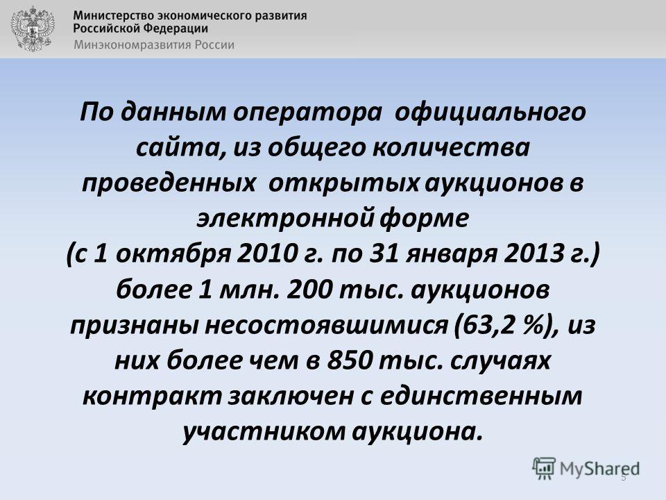 По данным оператора официального сайта, из общего количества проведенных открытых аукционов в электронной форме (с 1 октября 2010 г. по 31 января 2013 г.) более 1 млн. 200 тыс. аукционов признаны несостоявшимися (63,2 %), из них более чем в 850 тыс.