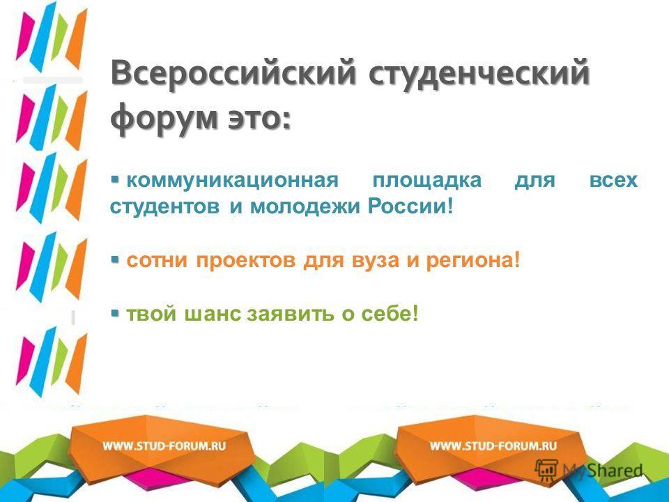 Всероссийский студенческий форум это : коммуникационная площадка для всех студентов и молодежи России! сотни проектов для вуза и региона! твой шанс заявить о себе!