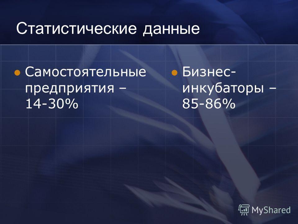 Статистические данные Самостоятельные предприятия – 14-30% Бизнес- инкубаторы – 85-86%
