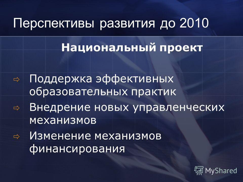 Перспективы развития до 2010 Национальный проект Поддержка эффективных образовательных практик Внедрение новых управленческих механизмов Изменение механизмов финансирования