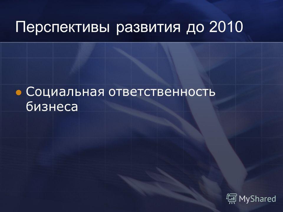 Перспективы развития до 2010 Социальная ответственность бизнеса