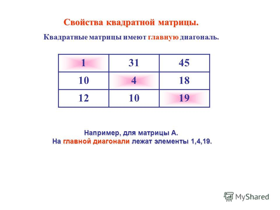 13145 10418 121019 Свойства квадратной матрицы. Квадратные матрицы имеют главную диагональ. Например, для матрицы А. На главной диагонали лежат элементы 1,4,19. На главной диагонали лежат элементы 1,4,19.