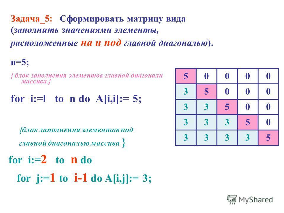 Задача_5: Сформировать матрицу вида (заполнить значениями элементы, расположенные на и под главной диагональю). n=5; { блок заполнения элементов главной диагонали массива } for i:=l to n do A[i,i]:= 5; 50000 35000 33500 33350 33335 {блок заполнения э