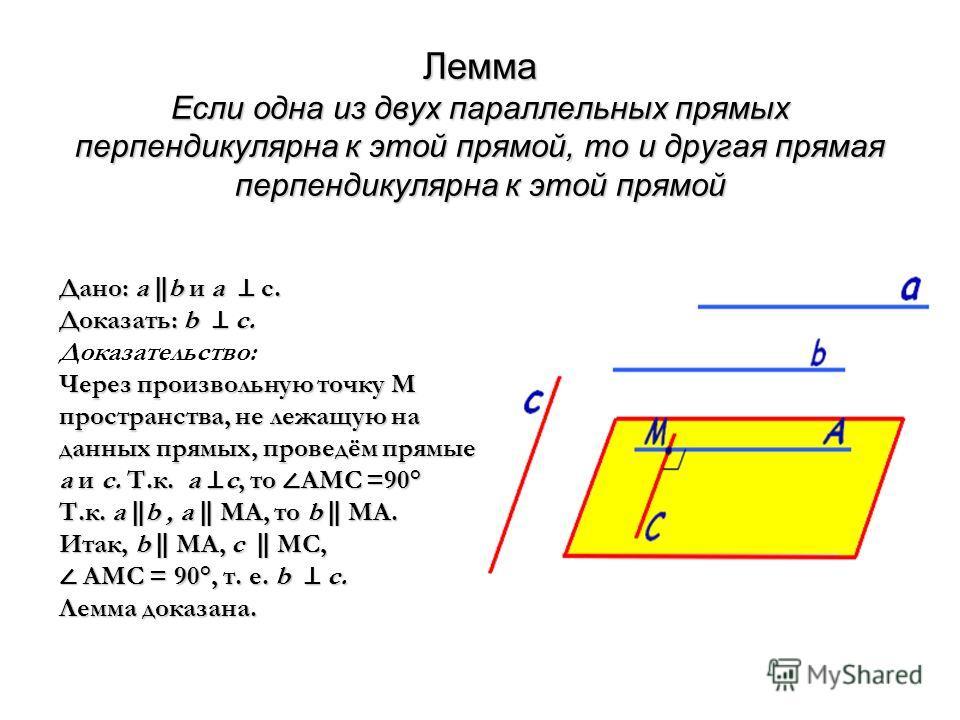 Лемма Если одна из двух параллельных прямых перпендикулярна к этой прямой, то и другая прямая перпендикулярна к этой прямой Дано: а b и а с. Доказать: b c. Через произвольную точку М пространства, не лежащую на данных прямых, проведём прямые а и с. Т